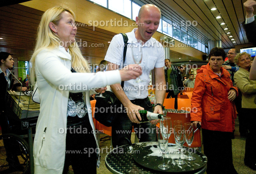 Father and mother Bertoncelj at reception of third placed Saso Bertoncelj at European Championships in artistic gymnastics in Birmingham 2010, on April 26, 2010, at Airport Joze Pucnik, Brnik, Slovenia. (Photo by Vid Ponikvar / Sportida)