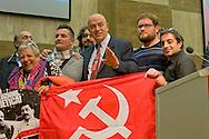 Roma 8 Novembre 2014<br /> Manifestazione internazionale  Viva La Rivoluzione Sovietica, organizzata dal Partito Comunista per ribadire la giustezza delle idee che portarono alla rivoluzione bolscevica in Russia, della quale ricorre il 97&deg; anniversario e per celebrare la grande storia del comunismo. Nella foto: Marco Rizzo (C), segretario generale del Partito Comunista.<br /> Rome November 8, 2014<br /> Event International &quot;Viva La Revolution Soviet&quot; organized by the Communist Party to reaffirm the correctness of the ideas that led to the Bolshevik revolution in Russia, which is celebrating the 97th anniversary and to celebrate the great history of communism. Pictured: Marco Rizzo (C), general secretary of the Communist Party.