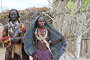 Africa, Ethiopia, Omo valley, a family of the Arbore tribe women