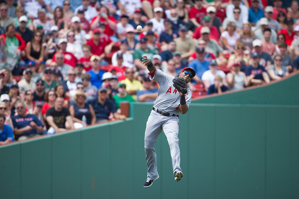 BOSTON, MA - JUNE 09:  Erick Aybar #2 of the Los Angeles Angels defends his position during the game against the Boston Red Sox at Fenway Park in Boston, Massachusetts on June 9, 2013. (Photo by Rob Tringali) *** Local Caption *** Erick Aybar