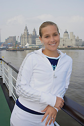 Liverpool, England - Sunday, June 10, 2007: Ashley Harkleroad on the deck of the Royal Daffodil Mersey Ferry as she takes a cruise along Liverpool's famous River Mersey. The WTA tennis player is in the city for the Liverpool International Tennis Tournament which starts on Tuesday June 12th. American Harkleroad faces local qualifier Liz Thomas from Blackburn on day two, Wednesday June 13th. For more information please visit www.liverpooltennis.co.uk. (Pic by David Rawcliffe/Propaganda)