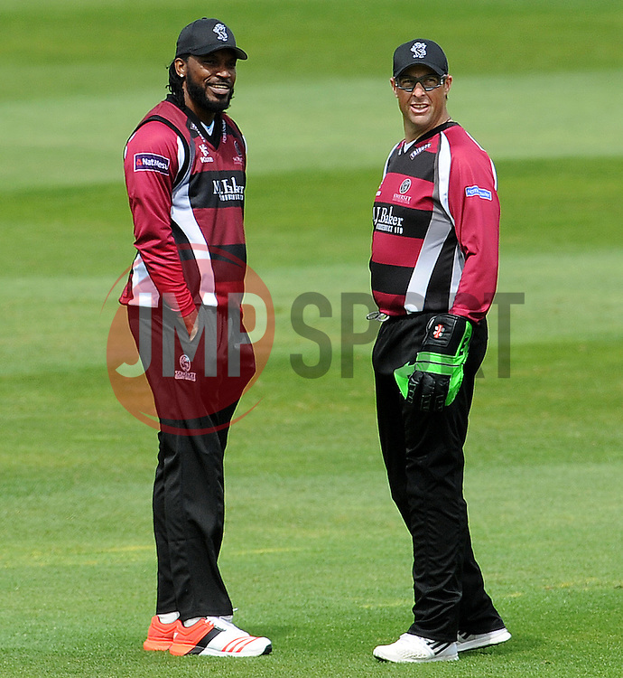 Somerset's Chris Gayle and Marcus Trescothick Photo mandatory by-line: Harry Trump/JMP - Mobile: 07966 386802 - 31/05/15 - SPORT - CRICKET - Natwest T20 Blast - Somerset v Kent- The County Ground, Taunton, England.