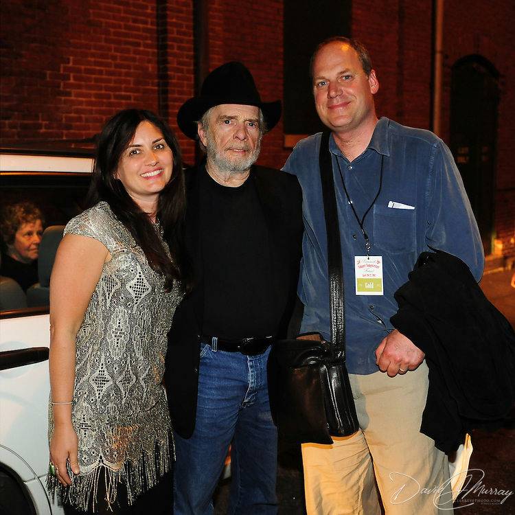 Therese LaGamma and her husband with Merle Haggard after the show