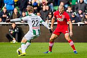 GRONINGEN - 23-10-2016, FC Groningen - AZ, Noordlease Stadion, 0-2,  FC Groningen speler Simon Tibbling, AZ speler Ron Vlaar