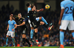 Aleksandar Dragovic of Leicester City challenges for a header with Kyle Walker of Manchester City - Mandatory by-line: Matt McNulty/JMP - 10/02/2018 - FOOTBALL - Etihad Stadium - Manchester, England - Manchester City v Leicester City - Premier League