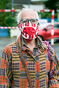man with fashionable mask during the Covid 19 crisis and lockdown France Limoux May 2020