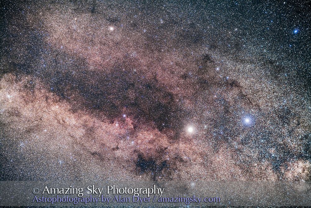 The bright stars Alpha Centauri (left) and Beta Centauri (right) at the end of the dark lanes of Centaurus in the southern Milky Way. The star cluster NGC 5617 is between Alpha and Beta; the cluster NGC 5822 in Lupus is at upper left; the trio of clusters NGC 6087, NGC 6067 and NGC 6025 are at far left in Triangulum Australe and Norma. <br /> <br /> This is a stack of 4 x 2.5-minute exposures with the 85mm Rokinon lens at f/2.8 and filter-modified Canon 5D MkII at ISO 2000. Tracked on the AP400 mount. Some high cloud added the natural star glows. Taken just at moonrise from Australia.