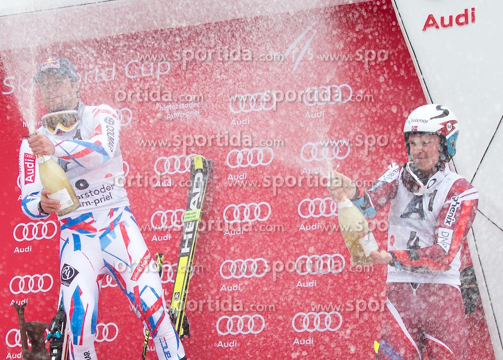 28.02.2016, Hannes Trinkl Rennstrecke, Hinterstoder, AUT, FIS Weltcup Ski Alpin, Hinterstoder, Riesenslalom, Herren, Podium, im Bild v.l. Alexis Pinturault (FRA, 1. Platz), Henrik Kristoffersen (NOR, 3. Platz) spritzen mit Sekt // f.l.t.r. winner Alexis Pinturault of France and 3rd placed Henrik Kristoffersen of Norway celebrate with Austrian Champagner celebrates on Podium of men's Giant Slalom of Hinterstoder FIS Ski Alpine World Cup at the Hannes Trinkl Rennstrecke in Hinterstoder, Austria on 2016/02/28. EXPA Pictures © 2016, PhotoCredit: EXPA/ Johann Groder