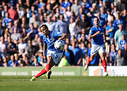 Kyle Bennett blazes a shot over the bar when clean through during the Sky Bet League 2 match between Portsmouth and Barnet at Fratton Park, Portsmouth, England on 12 September 2015. Photo by David Charbit.