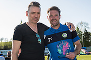 Forest Green Rovers Chairman Dale Vince with Forest Green Rovers Scott Laird(3) during the EFL Sky Bet League 2 match between Forest Green Rovers and Grimsby Town FC at the New Lawn, Forest Green, United Kingdom on 5 May 2018. Picture by Shane Healey.