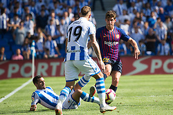 September 15, 2018 - Juanmi of Real Sociedad and Sergi Roberto of FC Barcelona in action during the match played in Anoeta Stadium between Real Sociead and FC Barcelona in San Sebastian, Spain, at Sept. 15th 2018. Photo UGS/AFP7 (Credit Image: © AFP7 via ZUMA Wire)