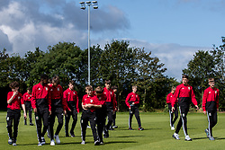 WREXHAM, WALES - Thursday, August 15, 2019: Wales players inspect the pitch before the UEFA Under-15's Development Tournament match between Wales and Northern Ireland at Colliers Park. (Pic by Paul Greenwood/Propaganda)