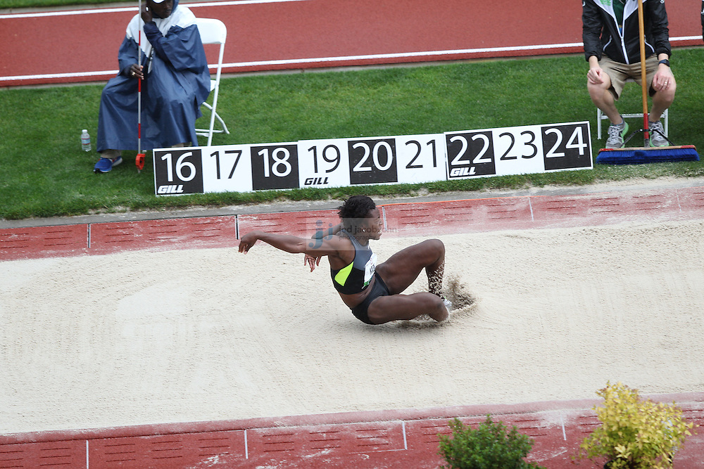 Bettie Wade competes during the long jump portion of the heptathalon during day 9 of the U.S. Olympic Trials for Track & Field at Hayward Field in Eugene, Oregon, USA 30 Jun 2012..(Jed Jacobsohn/for The New York Times)....