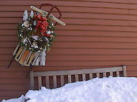 Christmas Wreath and Bench Covered in Winter Snow, Concord, Massachusetts