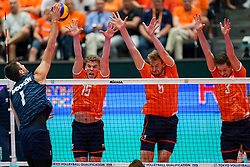 11-08-2019 NED: FIVB Tokyo Volleyball Qualification 2019 / Netherlands - USA, Rotterdam<br /> Final match pool B in hall Ahoy between Netherlands vs. United States (1-3) and Olympic ticket  for USA / Gijs van Solkema #15 of Netherlands, Luuc van der Ent #5 of Netherlands, Maarten van Garderen #3 of Netherlands