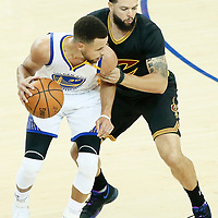 04 June 2017: Golden State Warriors guard Stephen Curry (30) posts up Cleveland Cavaliers guard Deron Williams (31) during the Golden State Warriors 132-113 victory over the Cleveland Cavaliers, in game 2 of the 2017 NBA Finals, at the Oracle Arena, Oakland, California, USA.