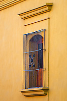 A decorative wrought iron security grill guards an arched window in a saffron yellow plaster wall, Oaxaca, Mexico.