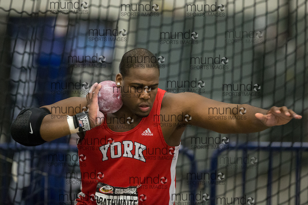 Windsor, Ontario ---2015-03-14--- Eric Brathwaite of York competes in the shot put at the 2015 CIS Track and Field Championships in Windsor, Ontario, March 14, 2015.<br /> GEOFF ROBINS/ Mundo Sport Images