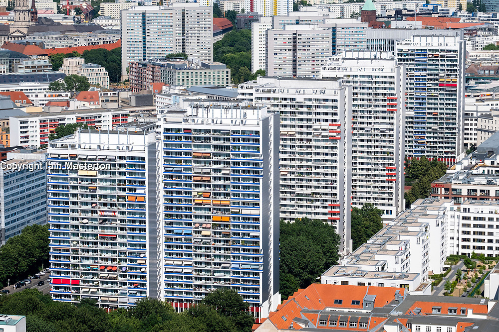View of  Berlin with high rise apartment buildings , Mitte, Berlin, Germany