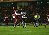 Photo: Andrew Unwin.<br /> Middlesbrough v Fulham. The Barclays Premiership.<br /> 20/11/2005.<br /> Middlesbrough's James Morrison (C) scores his team's first goal to level the scores.