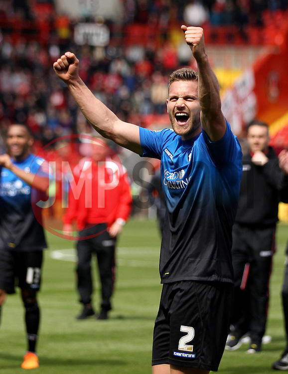 Bournemouth's Simon Francis celebrates winning the Sky Bet Championship - Photo mandatory by-line: Robbie Stephenson/JMP - Mobile: 07966 386802 - 02/05/2015 - SPORT - Football - Charlton - The Valley - Charlton v AFC Bournemouth - Sky Bet Championsip