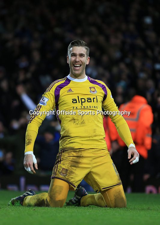 13 January 2015 - The FA Cup 3rd Round (Replay)  - West Ham v Everton - Adrian of West Ham celebrates scoring the winning penalty in sudden death - Photo: Marc Atkins / Offside.