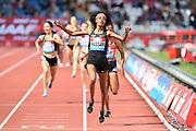 Sifan Hassan (NED) celebrates after winning the women's 1,500m in 4:00.60 during the Grand Prix Birmingham in an IAAF Diamond League meet in Birmingham, United Kingdom, Saturday, Aug. 18, 2018. (Jiro Mochizuki/mage of Sport)