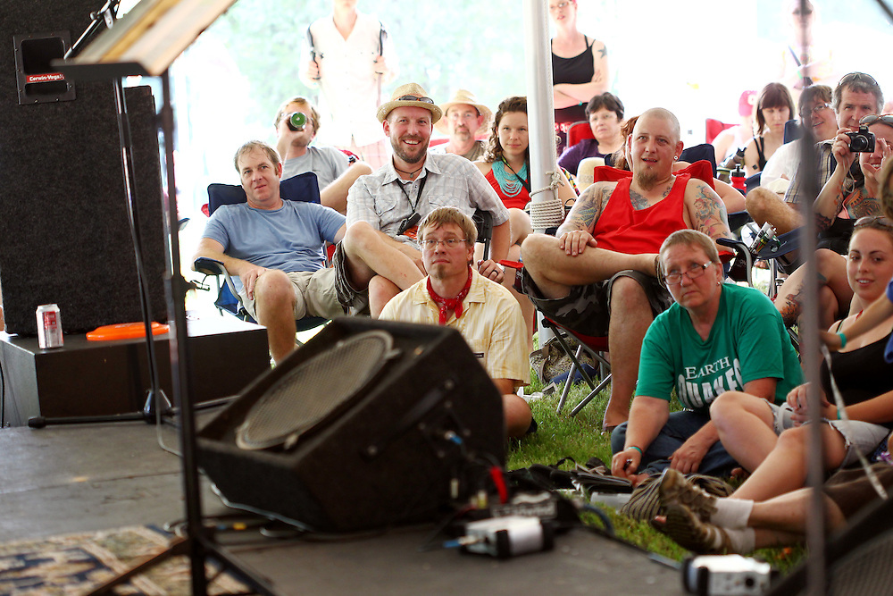 Festival attendees listen to pastor and author Jay Bakker speak about grace at the Wild Goose Festival at Shakori Hills in North Carolina June 24, 2011.  (Photo by Courtney Perry)