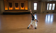 A couple dances in the Great Hall in Memorial Union in 2013, prior to the renovations to the building. The space is used for events, weddings, and sometimes ballroom dancing.