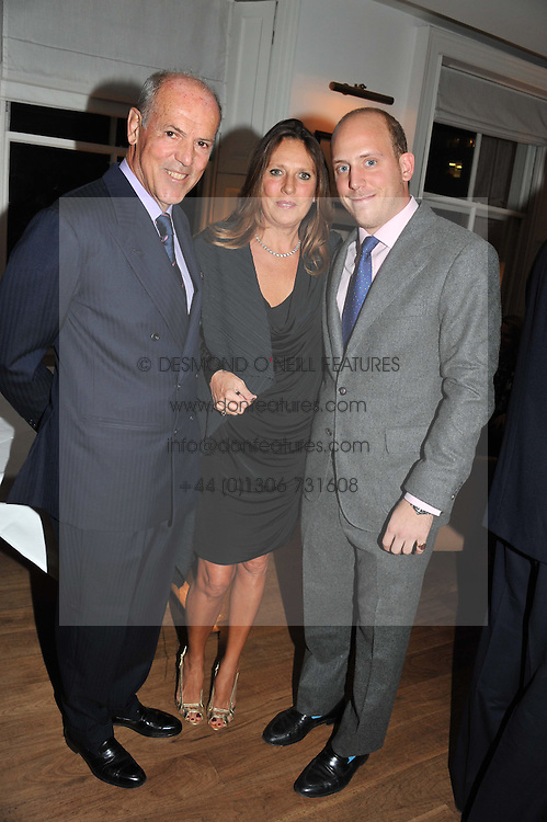 Left to right, MASSIMO & SARA CARELLO and CARLO CARELLO at a dinner hosted by Marlon and Nadya Abela in aid of Kids Company at Morton's, Berkeley Square, London on 25th September 2012.