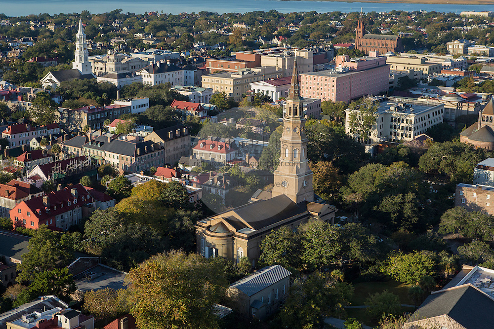 Aerial view of St Philips Church Charleston, South Carolina.