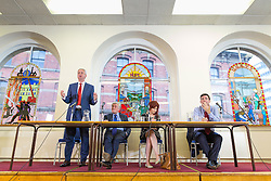 © Licensed to London News Pictures . FILE PICTURE DATED 26/07/2016 . Manchester , UK . L-R IVAN LEWIS , TONY LLOYD , host JENNIFER WILLIAMS and ANDY BURNHAM . ITV are reporting polling that puts Andy Burnham ahead as the likely noiminee as the Labour Party's Mayoral candidate in Greater Manchester . Pictured a Labour Party hustings , at the Mechanics Institute , Princess Street in Manchester City Centre featuring candidates Andy Burnham (MP for Leigh) , Tony Lloyd (current interim Mayor) and Ivan Lewis (MP for Bury South) . Photo credit : Joel Goodman/LNP