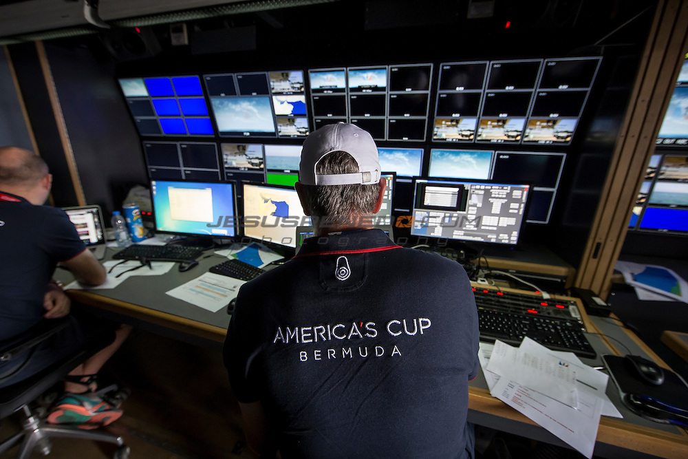 Louis Vuitton America's Cup World Series Oman 2016.TV compound.Second day of racing, 28th of February 2016.Muscat ,The Sultanate of Oman.Image licensed to Jesus Renedo/Lloyd images/Oman Sail