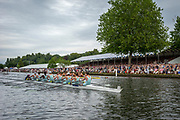 Henley Royal Regatta, 3-7 July 2019. Eton College (bottom) leading Shiplake College (top), as they pass the Grandstands, in their Semi-Final, of the Princess Elizabeth Challenge Cup, Royal Henley Peace Regatta Centenary, 1919-2019. Henley on Thames.<br /> <br /> <br /> <br /> [Mandatory Credit: Patrick WHITE/Intersport Images], 6, 06/07/2019,  16:12:18
