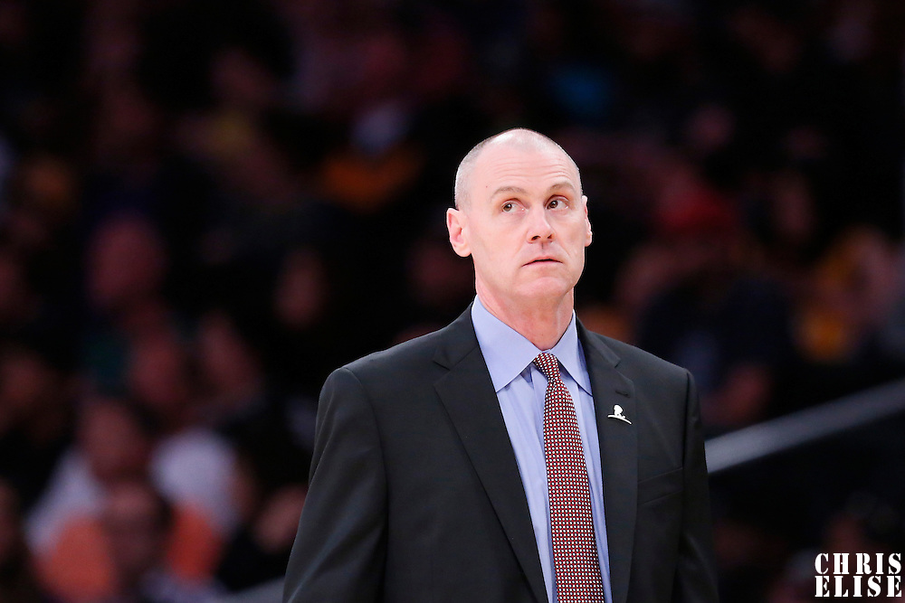 12 April 2014: Dallas Mavericks head coach Rick Carlisle is seen during the Dallas Mavericks 120-106 victory over the Los Angeles Lakers, at the Staples Center, Los Angeles, California, USA.