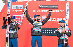 18.03.2018, Vikersundbakken, Vikersund, NOR, FIS Weltcup Ski Sprung, Raw Air, Vikersund, Finale, im Bild Andreas Stjernen (NOR, 2. Platz), Sieger Robert Johansson (NOR), Daniel Andre Tande (NOR, 3. Platz) // 2nd placed Andreas Stjernen of Norway, Winner Robert Johansson of Norway, 3rd placed Daniel Andre Tande of Norway during the 4th Stage of the Raw Air Series of FIS Ski Jumping World Cup at the Vikersundbakken in Vikersund, Norway on 2018/03/18. EXPA Pictures © 2018, PhotoCredit: EXPA/ JFK