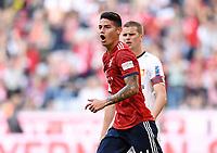 Fussball  1. Bundesliga  Saison 2018/2019  3. Spieltag  FC Bayern Muenchen - Bayer 04 Leverkusen       15.08.2018 JUBEL Torschuetze zum 3-1 James Rodriguez (FC Bayern Muenchen) ----DFL regulations prohibit any use of photographs as image sequences and/or quasi-video.----