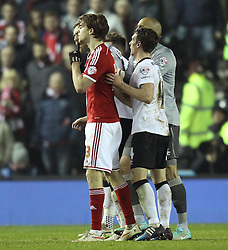 Middlesbrough's Patrick Bamford is confronted by Derby players - Photo mandatory by-line: Robbie Stephenson/JMP - Mobile: 07966 386802 - 17/03/2015 - SPORT - Football - Derby - iPro Stadium - Derby County v Middlesbrough - Sky Bet Championship