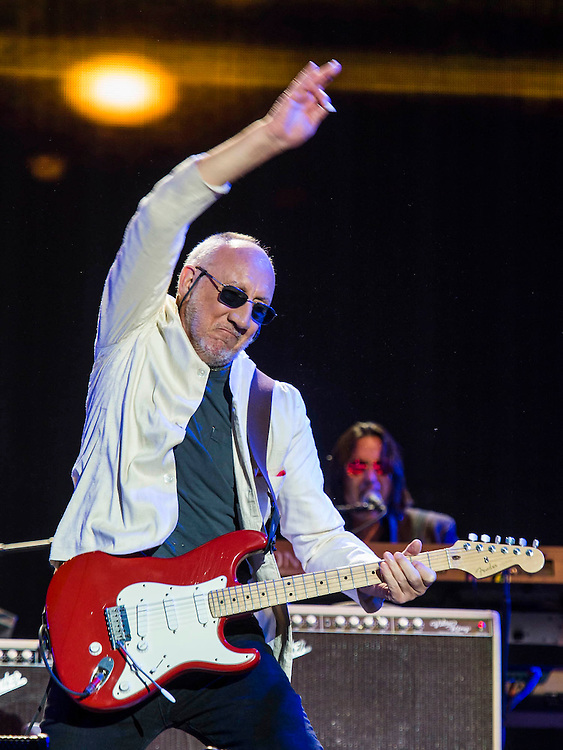 The Who play the Pyramid Stage. The 2015 Glastonbury Festival, Worthy Farm, Glastonbury.