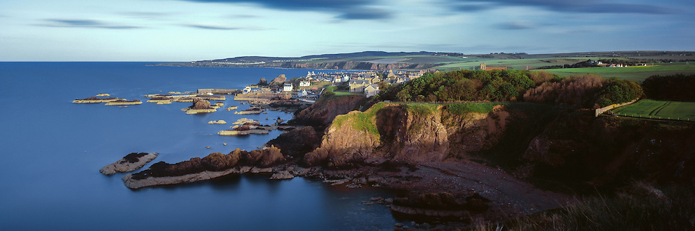 Summer sunset over the small fishing village of St Abbs in Berwickshire, Scottish Borders