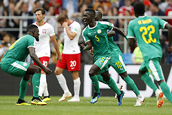 (l-r) Salif Sane of Senegal, Grzegorz Krychowiak of Poland, Lukasz Piszczek of Poland, Idrissa Gana Gueye of Senegal, Sadio Mane of Senegal, Moussa Wague of Senegal during the 2018 FIFA World Cup Russia group H match between Poland and Senegal at the Otkrytiye Arena on June 19, 2018 in Moscow, Russia