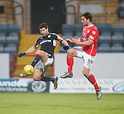 Dundee's Kostadin Gadzhalov and St Mirren's John Sutton - Dundee v St Mirren in the William Hill Scottish Cup at Dens Park, Dundee. Photo: David Young<br /> <br />  - © David Young - www.davidyoungphoto.co.uk - email: davidyoungphoto@gmail.com