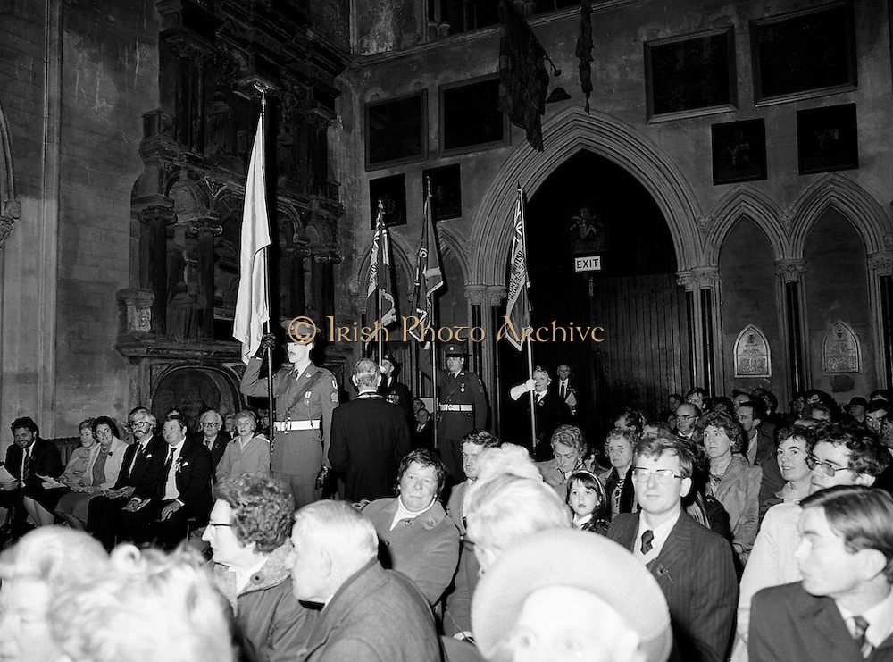 The colours are paraded to the altar during a Remembrance Day (Poppy Day) service held in St Patrick's Cathedral, Dublin, to commemorate the Irish who fell whilst on service with the British Army in the two World Wars.<br />