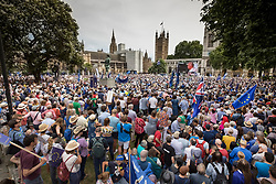 © Licensed to London News Pictures. 23/06/2018. London, UK. The People's Vote March for a second EU referendum fills Parliament Square as they listen to speeches.  Photo credit: Peter Macdiarmid/LNP