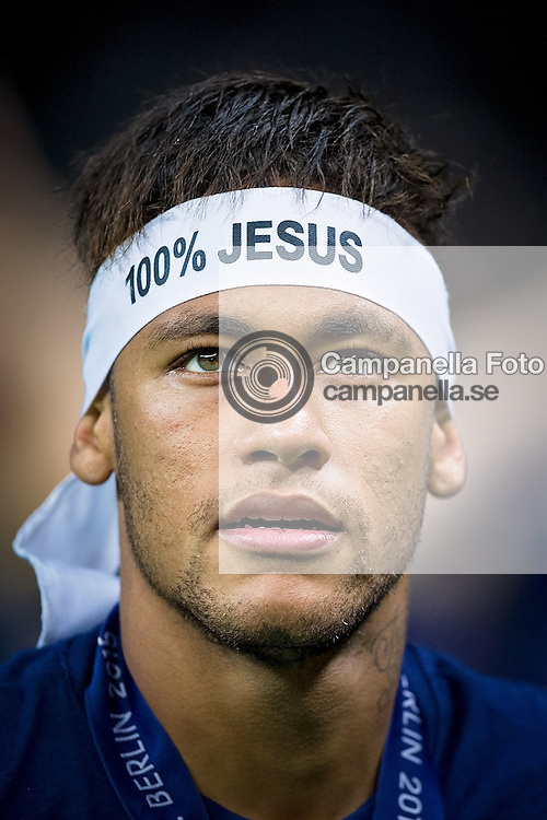 BERLIN, GERMANY - June 6th 2015:<br /> <br /> Barcelona 11 Neymar celebrates after winning the UEFA Champions League Final between Juventus FC and FC Barcelona at Olympiastadion in Berlin, Germany on June 6th 2015. (Photo: Michael Campanella)
