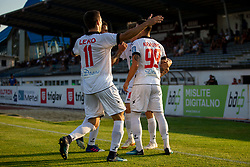 Players of NK Aluminij celebrate goal during football match between NK Triglav Kranj and NK Aluminij in 2nd Round of Prva liga Telekom Slovenije 2018/19, on July 28, 2018 in Sports park Kranj, Kranj, Slovenia. Photo by Urban Urbanc / Sportida