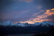 Sunset, the mountains of Volda, the west coast of Norway.