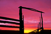 Old corral at dawn in the CM Russell National Wildlife Refuge. Central Montana