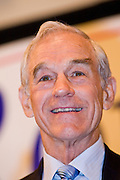"""May 22, 2008 - Phoenix, AZ: RON PAUL (R-TX) speaks in Phoenix Thursday. About 850 people crowded into the ballroom at the Pointe Hilton Squaw Peak Resort in Phoenix, AZ, to hear Republican presidential hopeful Ron Paul speak. Although Arizona Sen. John McCain is the """"presumptive"""" Republican candidate for president, Texas Congressman Ron Paul is staying in the race and actively campaigning for the Presidency. Paul repeated often made commitments to withdraw US troops from Iraq and Afghanistan, eliminate the US income tax system and change drug laws. Photo by Jack Kurtz"""