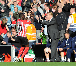 Southampton's Sadio Mane celebrates his goal with Southampton Manager, Ronald Koeman - Photo mandatory by-line: Dougie Allward/JMP - Mobile: 07966 386802 - 25/10/2014 - SPORT - Football - Southampton - ST Mary's Stadium - Southampton v Stoke - Barclays Premier League